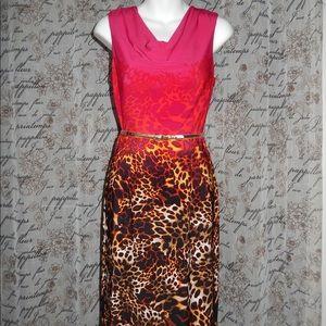 Calvin Klein Red Animal Print Cowl Sheath Dress 4